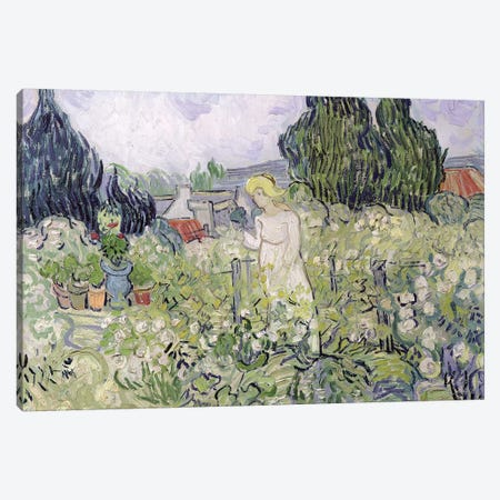 Mademoiselle Gachet in her garden at Auvers-sur-Oise, 1890  Canvas Print #BMN639} by Vincent van Gogh Canvas Print
