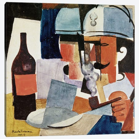 Soldier with Pipe and Bottle (w/c on paper) Canvas Print #BMN63} by Roger de la Fresnaye Canvas Artwork