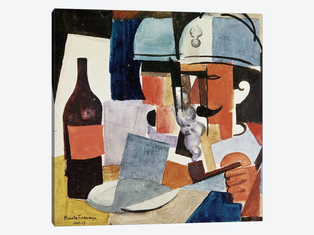 Soldier with Pipe and Bottle (w/c on paper) 1-piece Canvas Art Print