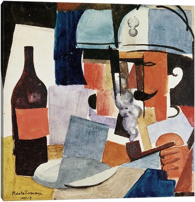 Soldier with Pipe and Bottle (w/c on paper) Canvas Art Print