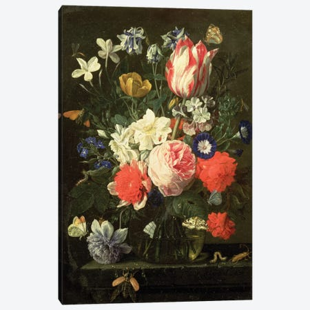 Rose, Tulip, Morning Glory And Other Flowers In A Glass Vase On A Stone Ledge Canvas Print #BMN6400} by Nicholaes van Verendael Canvas Print