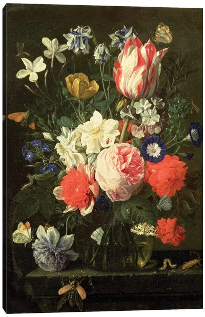 Rose, Tulip, Morning Glory And Other Flowers In A Glass Vase On A Stone Ledge Canvas Art Print