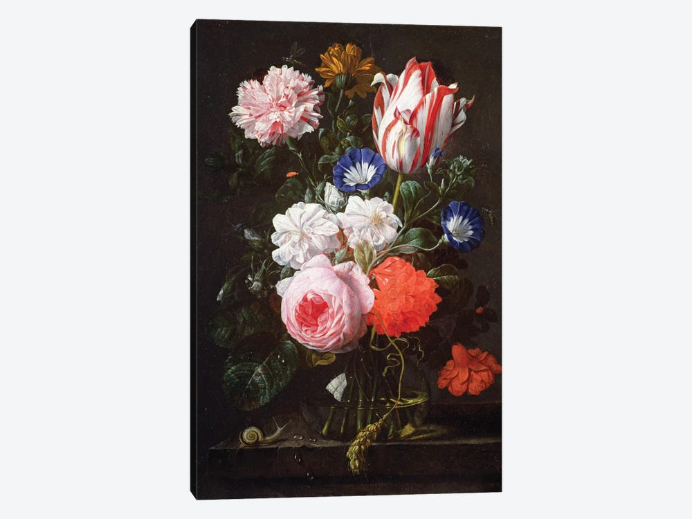 Still Life Of Roses, A Carnation, Convolvulus And A Tulip In A Glass Vase by Nicholaes van Verendael 1-piece Canvas Print