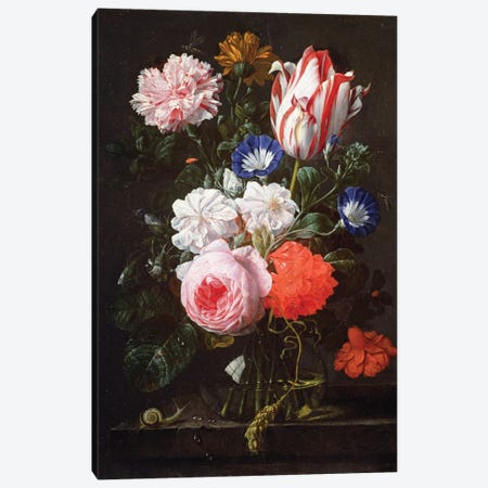 Still Life Of Roses, A Carnation, Convolvulus And A Tulip In A Glass Vase Canvas Print #BMN6401} by Nicholaes van Verendael Art Print
