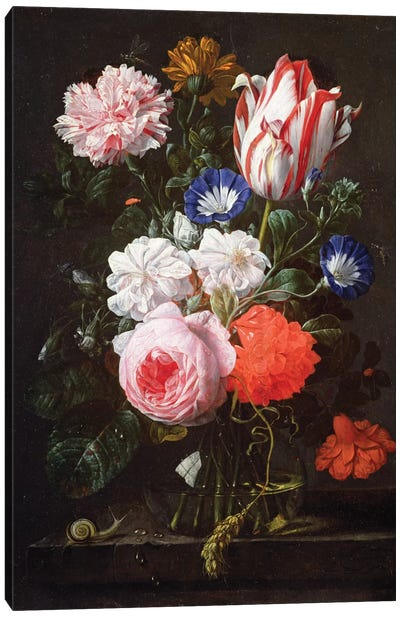 Still Life Of Roses, A Carnation, Convolvulus And A Tulip In A Glass Vase Canvas Art Print