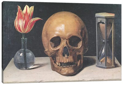 Vanitas Still Life With A Tulip, Skull And Hour-Glass Canvas Art Print