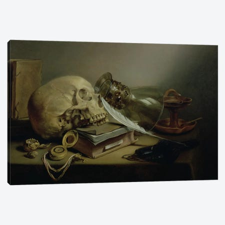 A Vanitas Still Life Canvas Print #BMN6404} by Pieter Claesz Canvas Wall Art