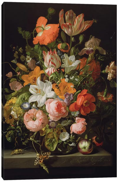 Still Life Of Roses, Lilies, Tulips And Other Flowers In a Glass Vase With A Brindled Beauty On A Stone Ledge Canvas Art Print