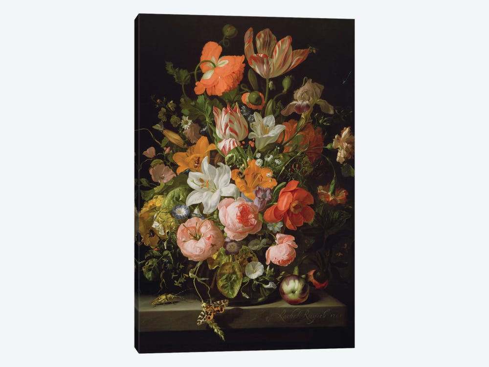 Still Life Of Roses, Lilies, Tulips And Other Flowers In a Glass Vase With A Brindled Beauty On A Stone Ledge by Rachel Ruysch 1-piece Canvas Print