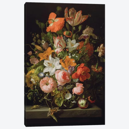 Still Life Of Roses, Lilies, Tulips And Other Flowers In a Glass Vase With A Brindled Beauty On A Stone Ledge Canvas Print #BMN6405} by Rachel Ruysch Canvas Art