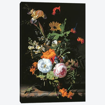 Still Life Of Summer Flowers Canvas Print #BMN6406} by Rachel Ruysch Canvas Art