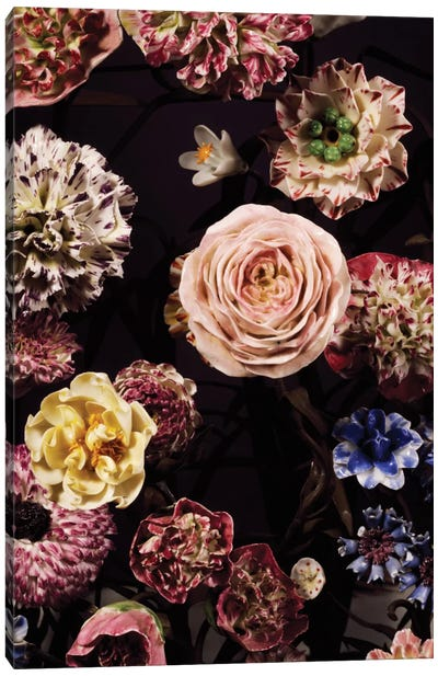 Vase Garnished With Flower Bouquets Canvas Art Print