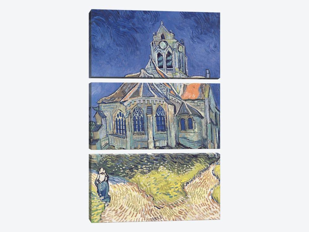 The Church at Auvers-sur-Oise, 1890  by Vincent van Gogh 3-piece Canvas Print