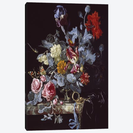 A Vase Of Flowers With A Watch Canvas Print #BMN6410} by Willem van Aelst Canvas Wall Art
