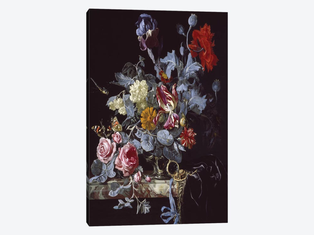 A Vase Of Flowers With A Watch by Willem van Aelst 1-piece Art Print