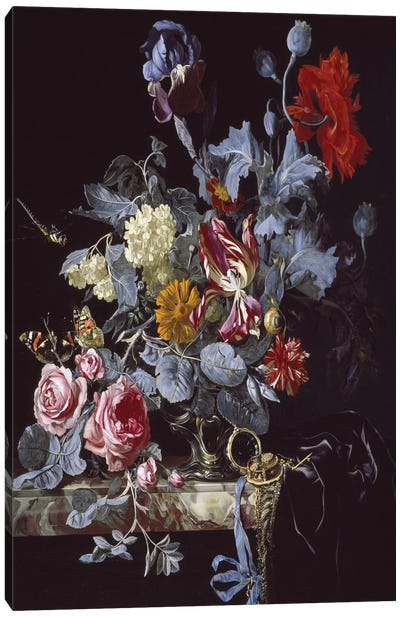 A Vase Of Flowers With A Watch Canvas Art Print