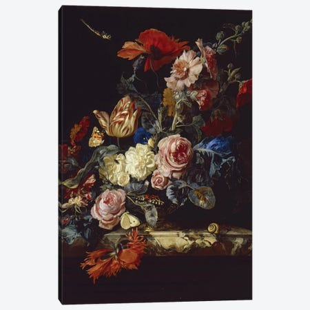 A Vase Of Flowers, 1663 Canvas Print #BMN6411} by Willem van Aelst Canvas Artwork
