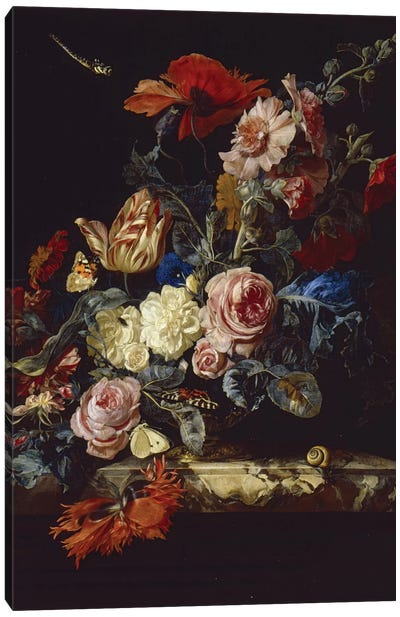 A Vase Of Flowers, 1663 Canvas Art Print
