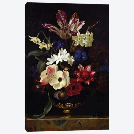 Still Life With Flowers Canvas Print #BMN6412} by Willem van Aelst Canvas Artwork