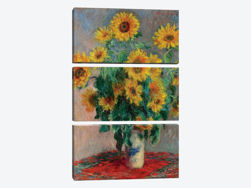 Bouquet Of Sunflowers, 1881 by Claude Monet 3-piece Canvas Art