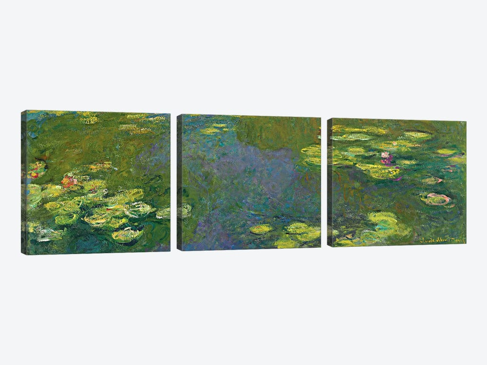 The Waterlily Pond (Le Bassin aux Nympheas), 1919 by Claude Monet 3-piece Canvas Artwork
