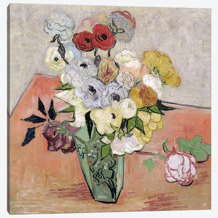 Japanese Vase with Roses and Anemones, 1890  Canvas Print #BMN641} by Vincent van Gogh Canvas Art