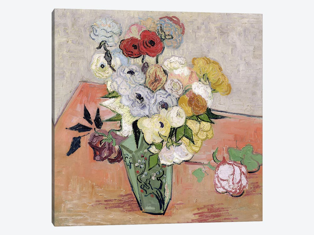 Japanese Vase with Roses and Anemones, 1890  by Vincent van Gogh 1-piece Canvas Artwork