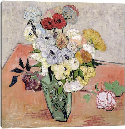 Japanese Vase with Roses and Anemones, 1890  Canvas Art Print