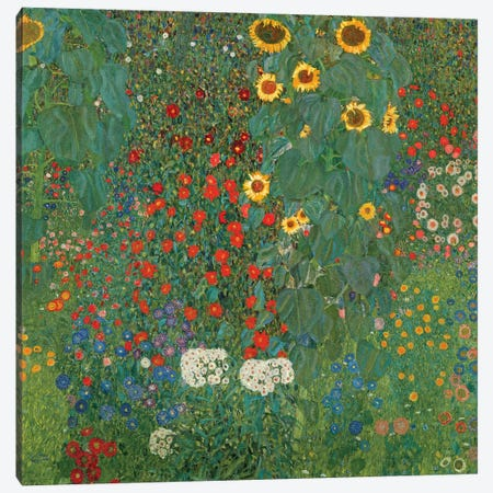 Farm Garden With Sunflowers, 1905-06 Canvas Print #BMN6420} by Gustav Klimt Canvas Print