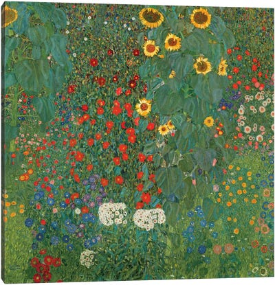 Farm Garden With Sunflowers, 1905-06 by Gustav Klimt Canvas Art Print