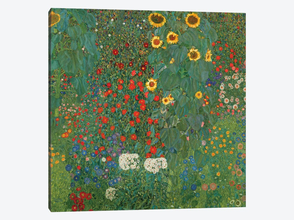Farm Garden With Sunflowers, 1905-06 by Gustav Klimt 1-piece Canvas Artwork