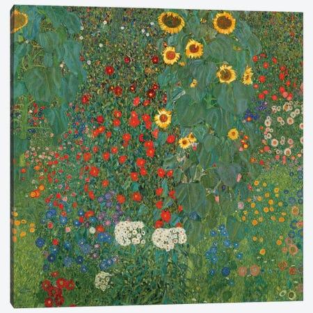 Farm Garden With Sunflowers, 1905-06 3-Piece Canvas #BMN6420} by Gustav Klimt Canvas Print