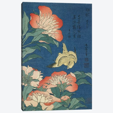 Peonies And Canary, c.1833 Canvas Print #BMN6424} by Katsushika Hokusai Canvas Wall Art