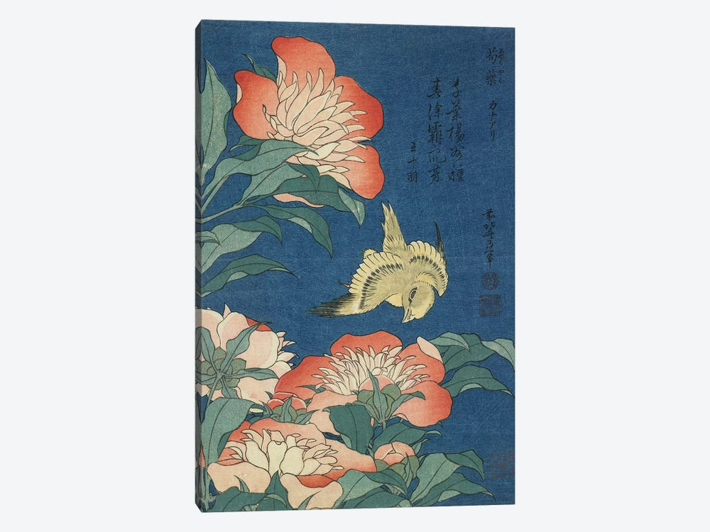 Peonies And Canary, c.1833 by Katsushika Hokusai 1-piece Canvas Artwork