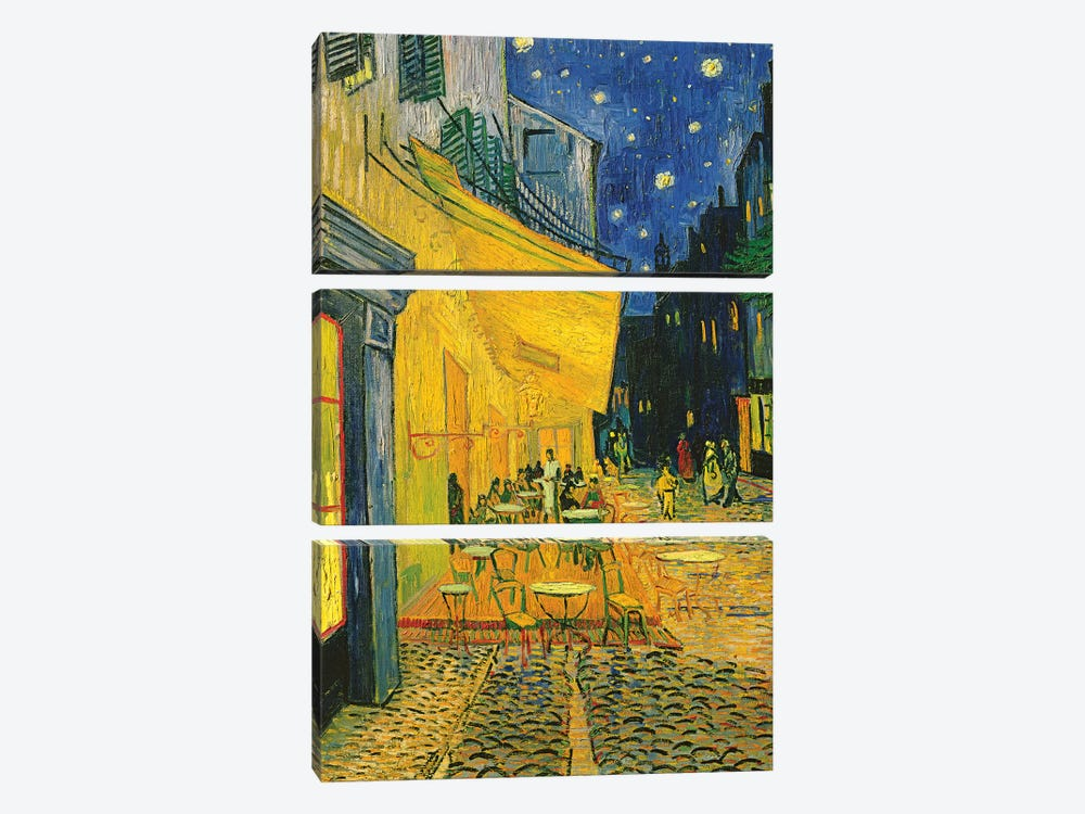 Café Terrace, Place du Forum, Arles, 1888 by Vincent van Gogh 3-piece Canvas Art Print