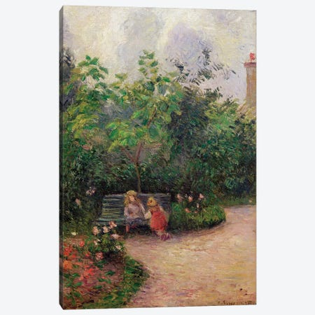 A Corner of the Garden at the Hermitage, Pontoise, 1877  Canvas Print #BMN642} by Camille Pissarro Canvas Art