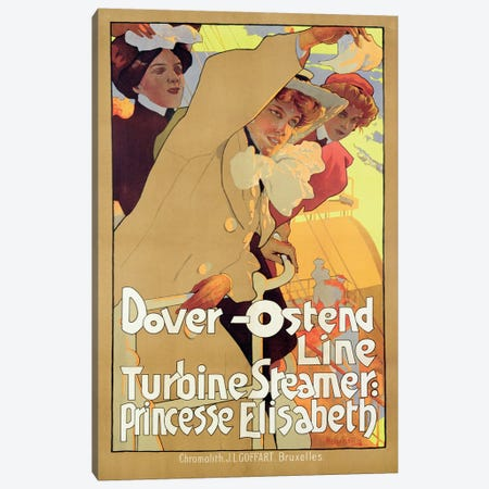Dover-Ostend Line Travel Poster Canvas Print #BMN6431} by Adolfo Hohenstein Canvas Wall Art