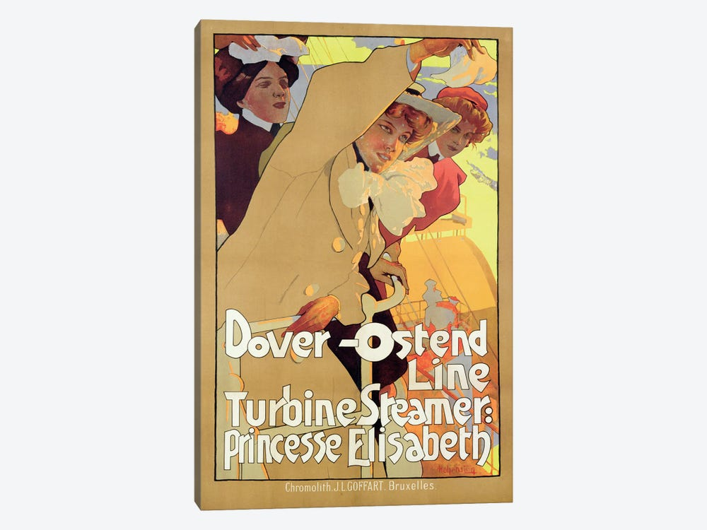 Dover-Ostend Line Travel Poster by Adolfo Hohenstein 1-piece Canvas Art