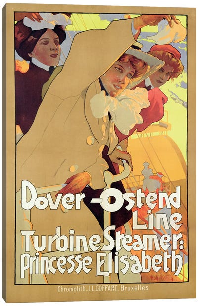 Dover-Ostend Line Travel Poster Canvas Art Print