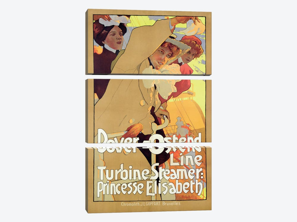 Dover-Ostend Line Travel Poster by Adolfo Hohenstein 3-piece Canvas Wall Art