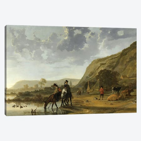 River Landscape With Riders, 1653-57 Canvas Print #BMN6432} by Aelbert Cuyp Canvas Artwork