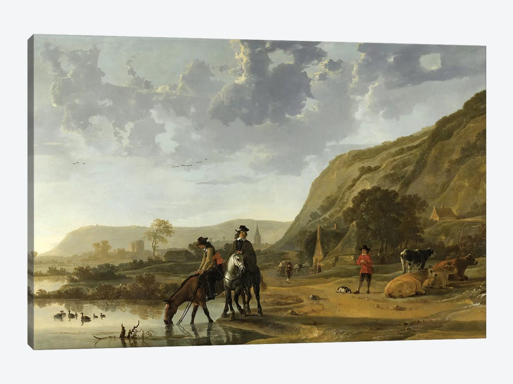River Landscape With Riders, 1653-57 by Aelbert Cuyp 1-piece Art Print
