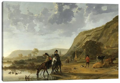 River Landscape With Riders, 1653-57 Canvas Art Print