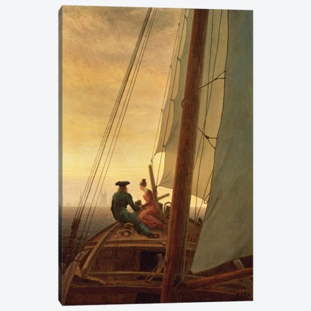 On Board A Sailing Ship, 1819 Canvas Print #BMN6436} by Caspar David Friedrich Art Print