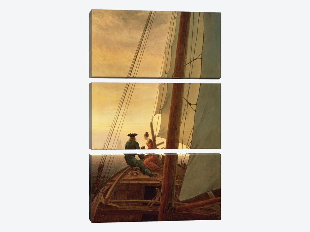 On Board A Sailing Ship, 1819 by Caspar David Friedrich 3-piece Canvas Art Print