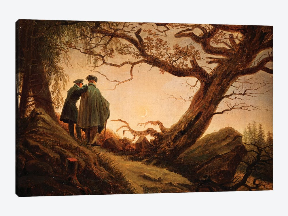 Two Men In The Consideration Of The Moon, c.1830 by Caspar David Friedrich 1-piece Canvas Wall Art