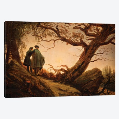 Two Men In The Consideration Of The Moon, c.1830 Canvas Print #BMN6439} by Caspar David Friedrich Canvas Wall Art