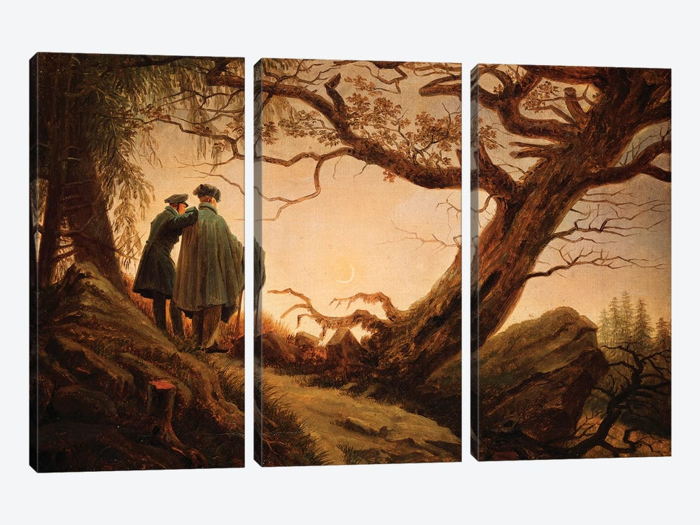 Two Men In The Consideration Of The Moon, c.1830 by Caspar David Friedrich 3-piece Canvas Art