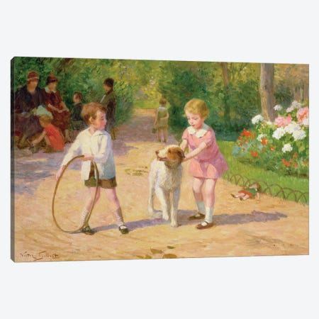 Playing with the hoop Canvas Print #BMN643} by Victor Gabriel Gilbert Canvas Artwork