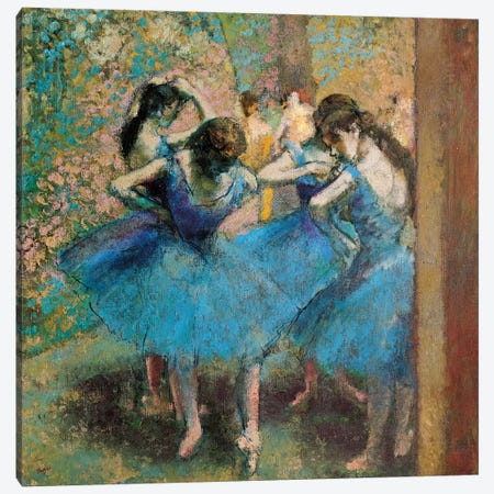 Dancers In Blue, 1890 Canvas Print #BMN6446} by Edgar Degas Canvas Wall Art